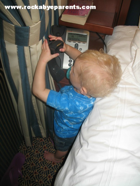 Nick was obsessed with the phone.  Could be because we only have cellphones in our house.