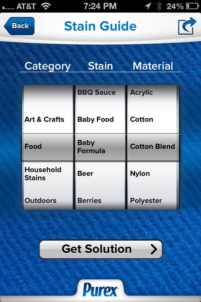 Purex Laundry Help App Stain Guide
