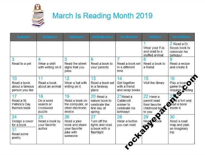 March is Reading Month Printable Activity Calendar