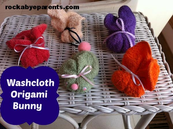 Washcloth Origami Bunny