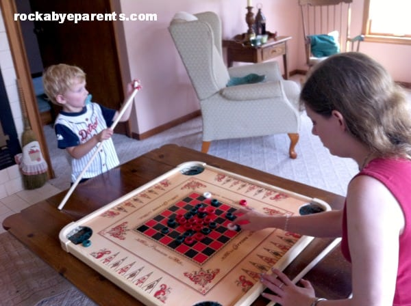Playing Carrom Board with Mommy