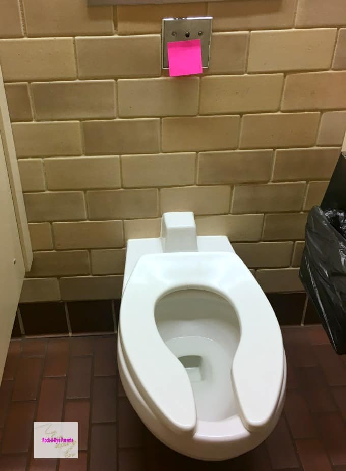 Covering Toilet Sensor with Sticky Note