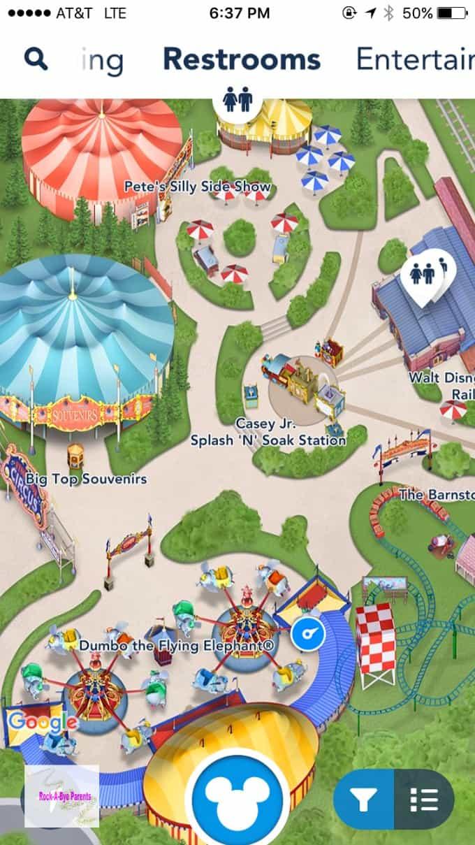 My Disney Experience Restroom Location Screen Shot