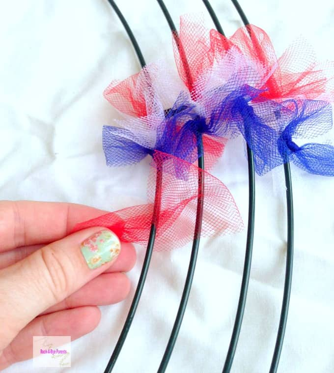 Attaching Tulle for Patriotic Wreath