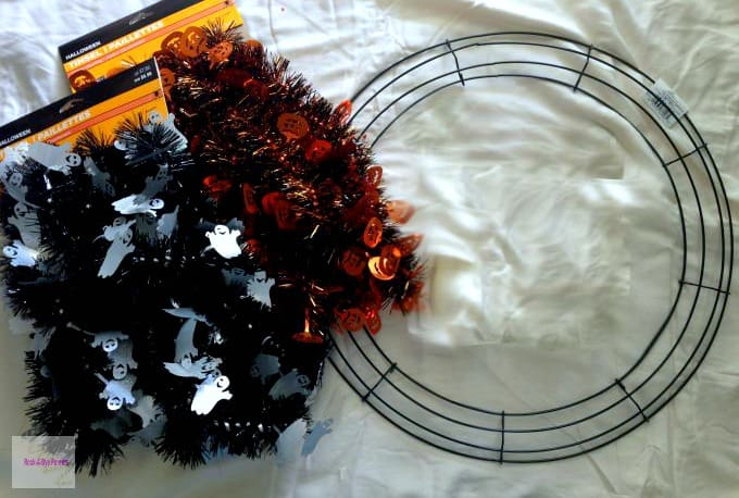 Halloween tinsel wreath easy diy on a