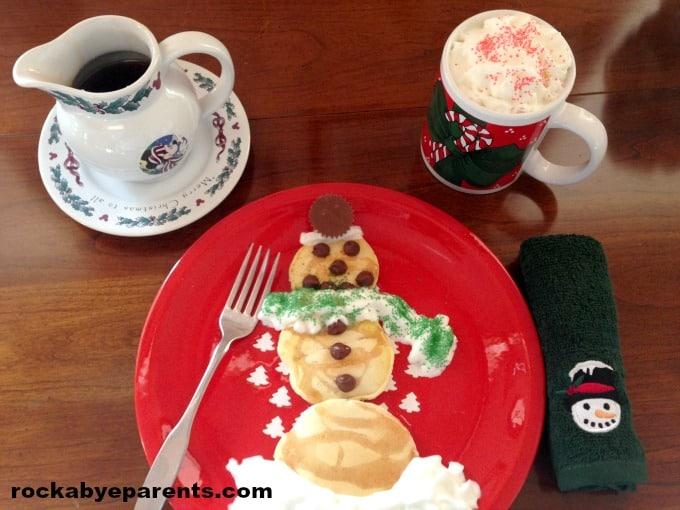 Snowman Pancakes with Peppermint Syrup - rockabyeparents.com