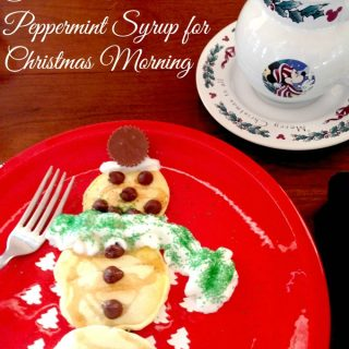 Snowman Pancakes With Peppermint Syrup For Christmas Morning