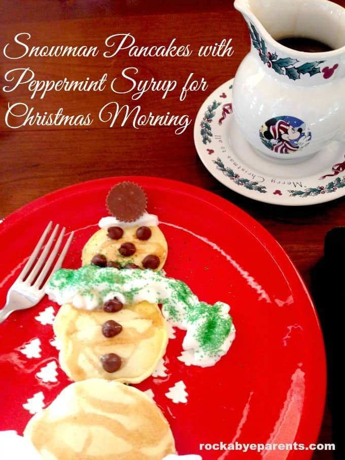 Snowman Pancakes with Peppermint Syrup for Christmas Morning - rockabyeparents.com