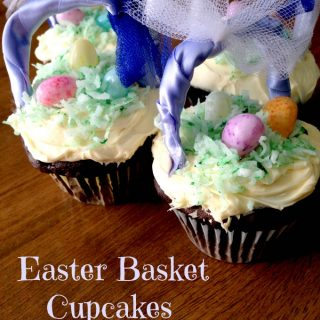 Easter Basket Cupcakes With Coconut Grass And Jelly Bean Eggs