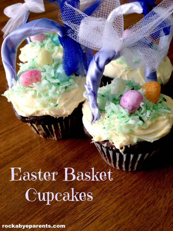 These Easter Basket Cupcakes are so much fun. With their adorable basket handles and jelly bean eggs they are bound to be the hit of Easter dinner!