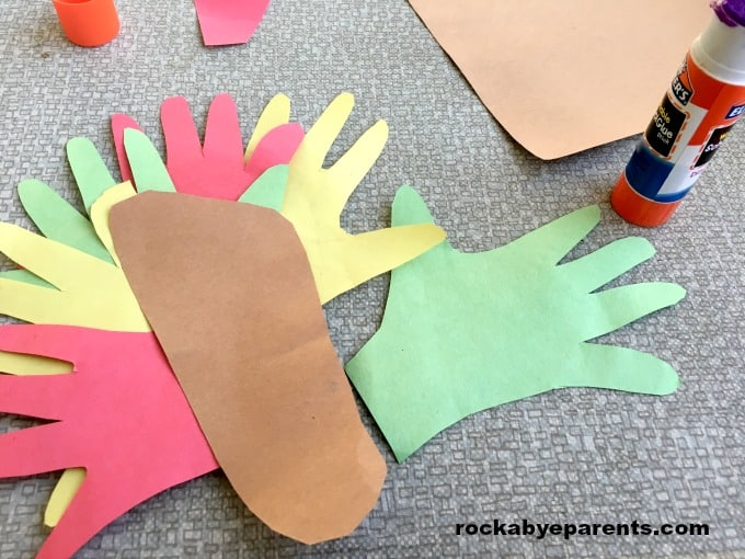 Handprint and Footprint Turkey: with Poem Printable - rockabyeparents.com