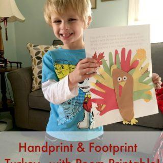 Handprint And Footprint Turkey – With Poem Printable