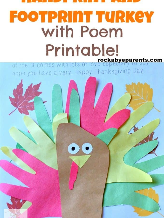 Handprint and Footprint Turkey with Turkey Poem Printable