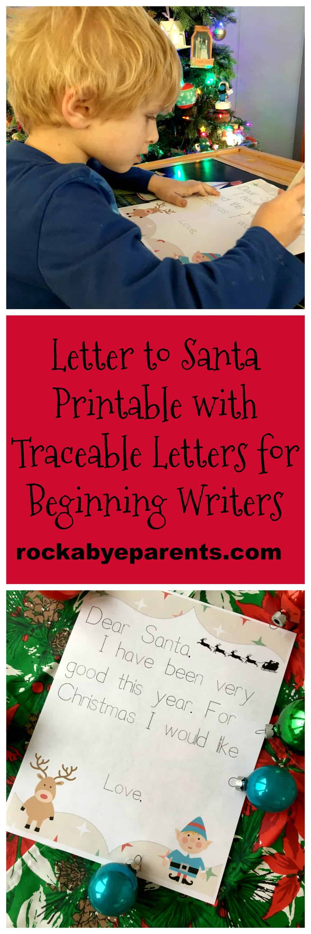 Letter to Santa Printable with Traceable Letters for Beginning Writers - rockabyeparents.com