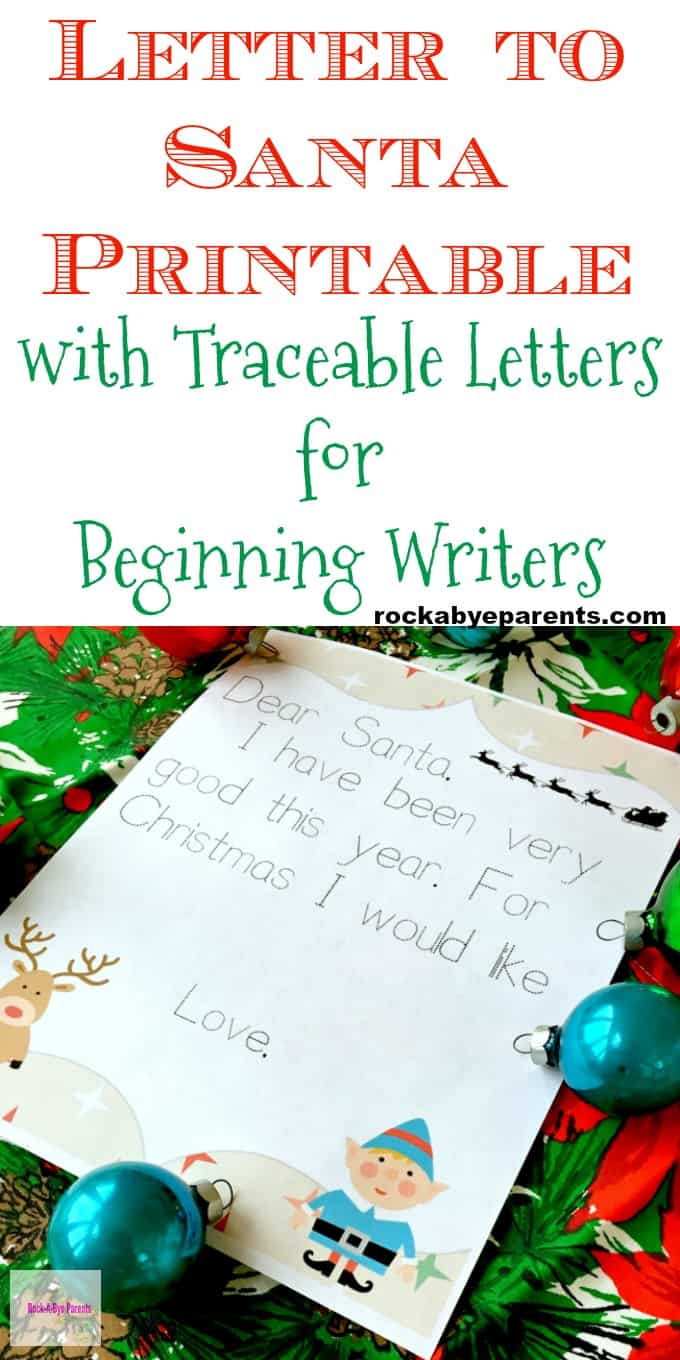 Letter to santa printable with traceable letters for beginning writers spiritdancerdesigns