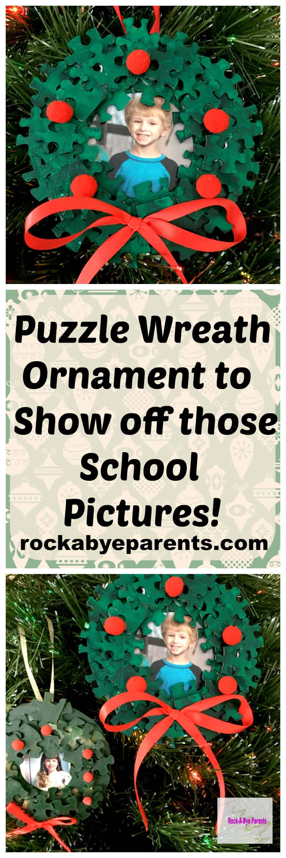 Puzzle Wreath Ornament to Show off those School Pictures! - rockabyeparents.com