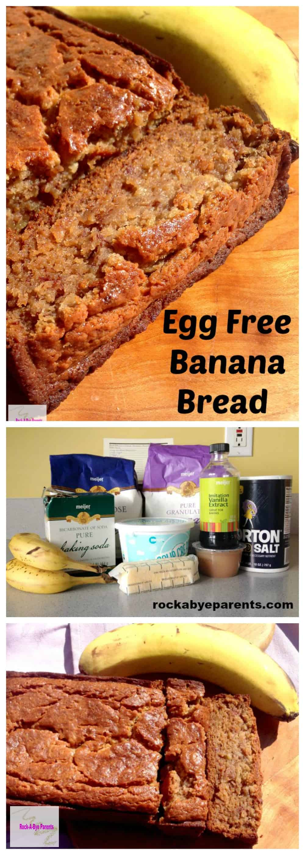 This egg free banana bread recipe is moist, yummy, and so easy to make. It is modified from a recipe for sour cream banana bread.