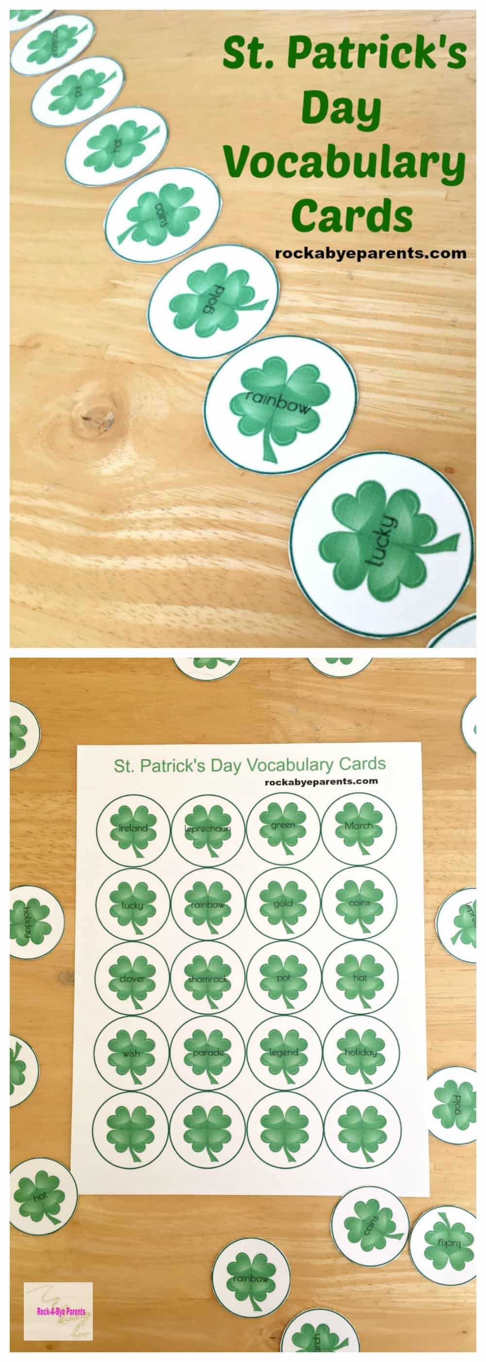 Add some St. Patrick's Day fun to your next language arts lesson with these St. Patrick's Day Vocabulary Cards printable.