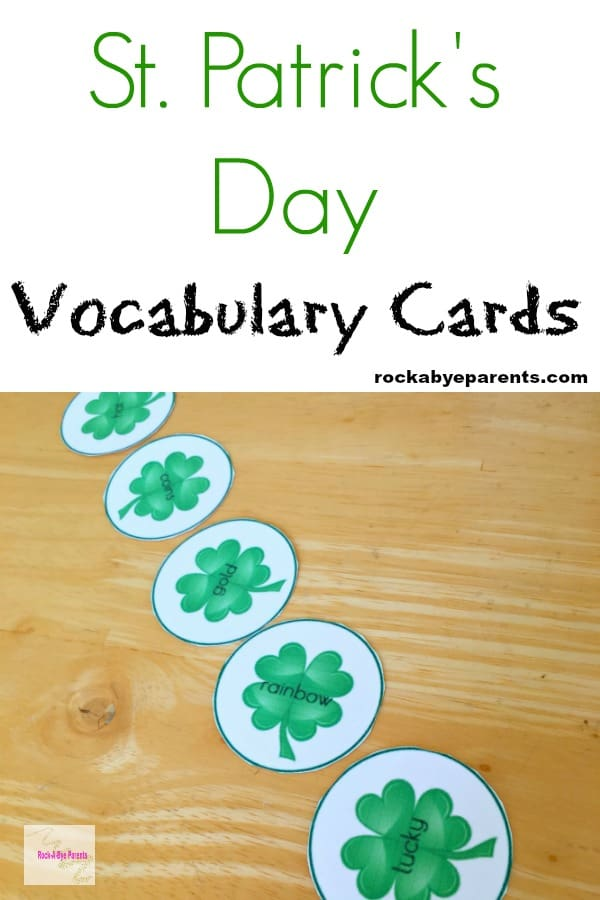 St. Patrick's Day Vocabulary Cards for Kids