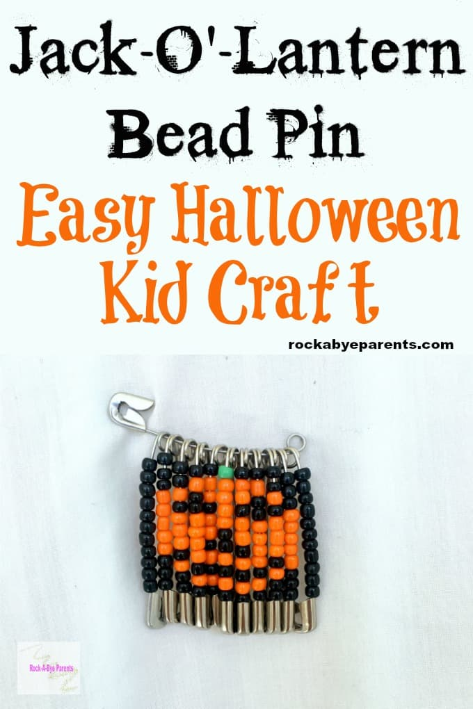 Jack-O'-Lantern Bead Pin - Easy Halloween Kid Craft