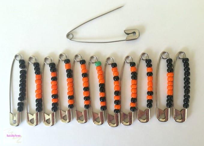Jack-O-Lantern Beaded Pins
