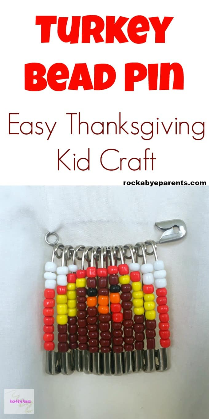 Turkey Bead Pin - An Easy Thanksgiving Kid Craft