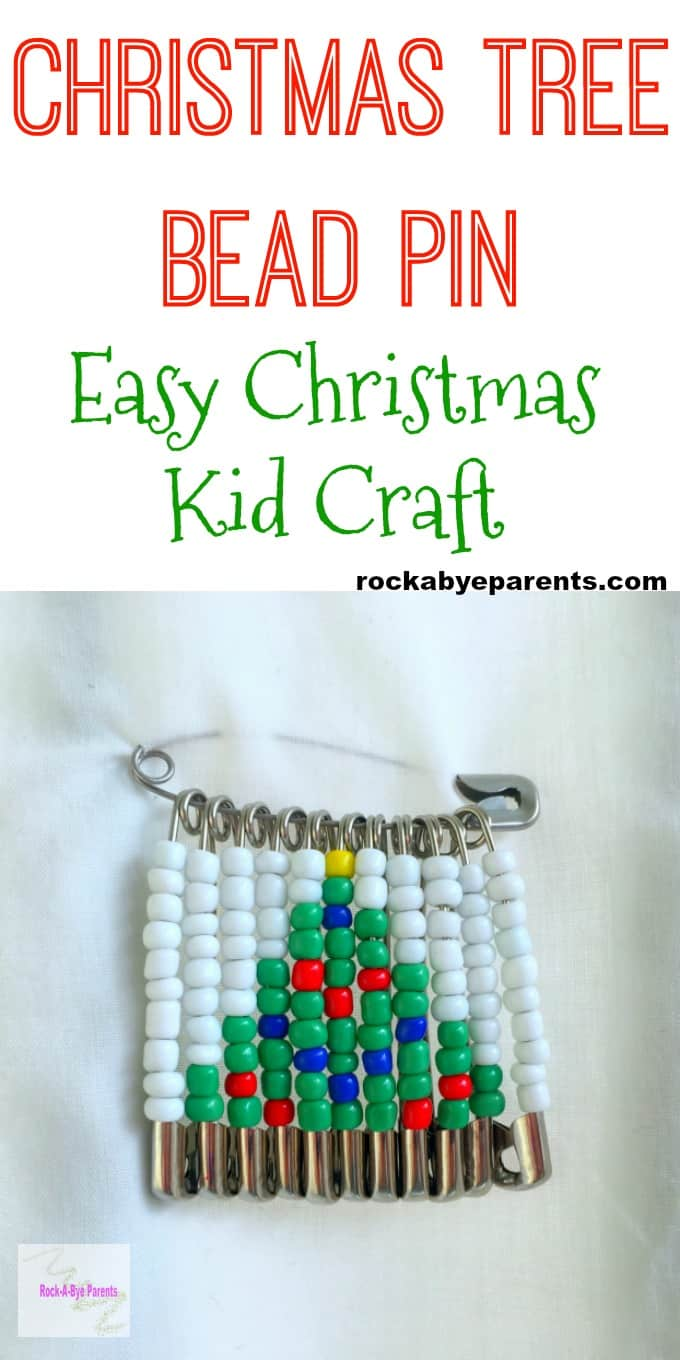 Christmas Tree Bead Pin - Easy Christmas Kid Craft