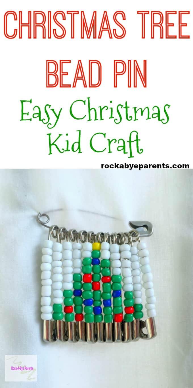 Christmas Tree Bead Pin - Easy Christmas Kid Craft