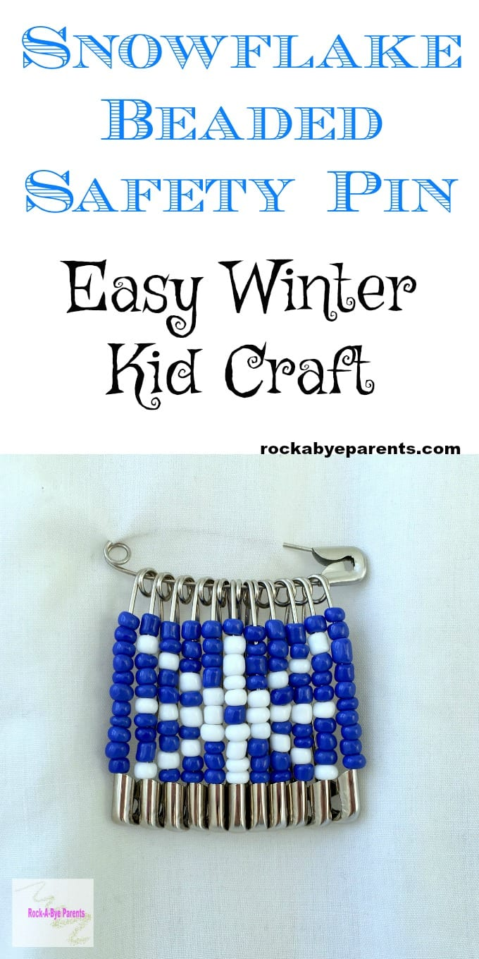 Snowflake Beaded Safety Pin - Easy Winter Kid Craft