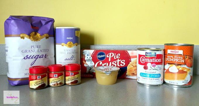 Ingredients for Pumpkin Pie without Eggs
