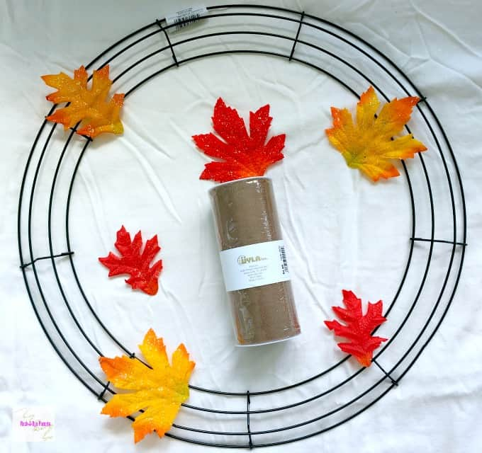 Supplies to Make a Fall Wreath on a Wire Frame