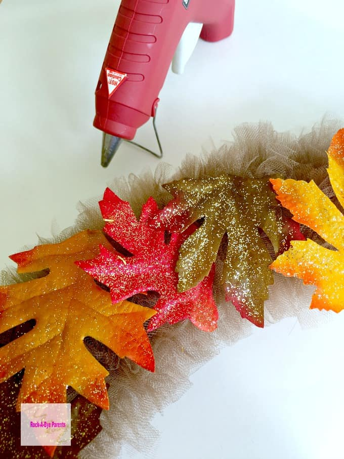 Attaching Silk Leaves to DIY Wreath