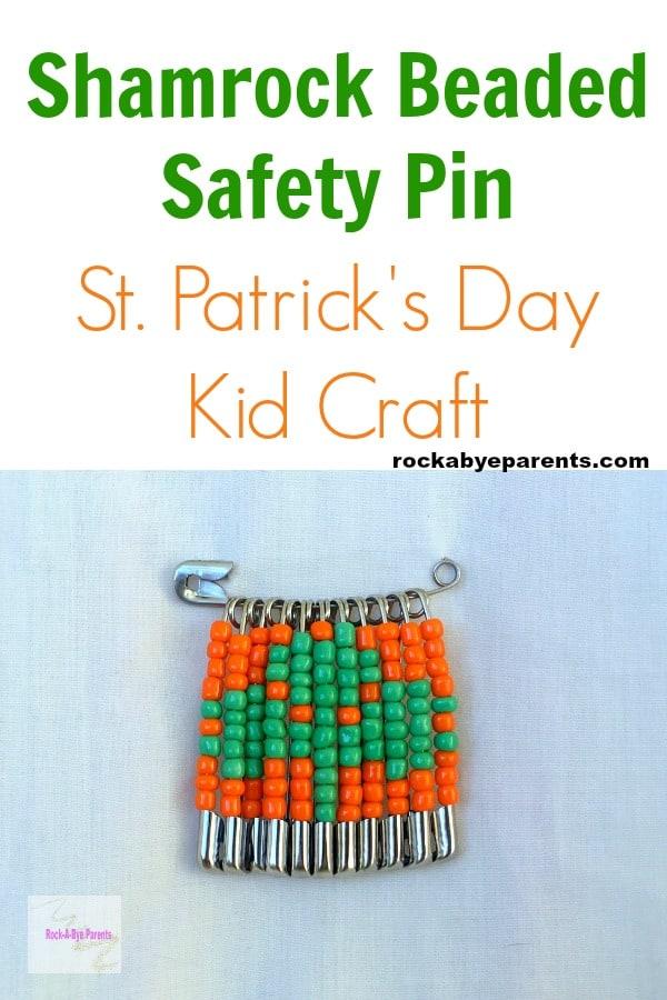 Shamrock Beaded Safety Pin